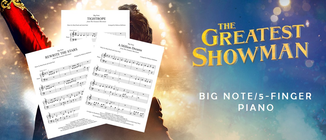 Greatest Showman Big Note 5 Finger Piano